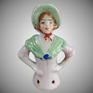 Vintage Half Doll - Young Lady with Bonnet Porcelain Pincushion Doll