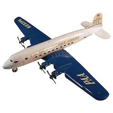 Vintage Marx Airplane - Super 7 Clipper - Pressed Steel Airplane