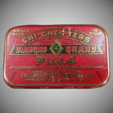 Vintage Medicine Tin - Diamond Brand Pills - Chi-Ches-Ters - Old Medical Advertising