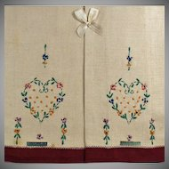 Vintage Linen Guest Towels - Embroidered Heart - Original Labels and Box