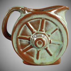 Vintage Frankoma Pottery - Prairie Green Wagon Wheel Cream Pitcher