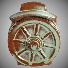 Vintage Frankoma Pottery - Prairie Green Wagon Wheel Sugar Bowl with Lid