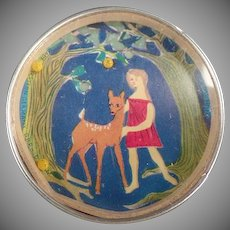 Vintage Dexterity Puzzle - Little Girl with Deer and Mirror Back