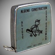 Vintage 1/4 & 1/8 Scale - Steel Tape Measure - Algene Construction Advertising