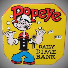 Vintage Popeye Daily Dime Bank – Tin Dime Register – King Features Syndicate 1956