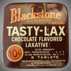 Vintage Medicine Tin – Blackstone Tasty-Lax Chocolate Flavored Laxative Tin