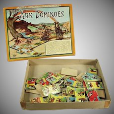 Vintage Ark Dominoes - Colorful Game Animal Graphics - Original Box