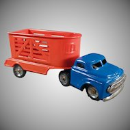 Vintage Tin Toy Truck with Horse Trailer - Small Scale Japanese Tin Toy