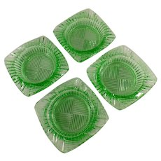 Vintage Green Glass Ashtrays - Set of Four with Geometric Pattern
