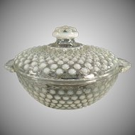 Vintage Hobnail Candy Dish with Lid - Opalescent Moonstone Hobnail