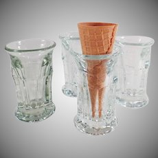 Vintage Ice Cream Cone Glasses - Set of Four - Old Soda Fountain Items