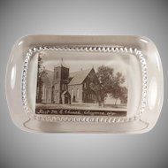 Vintage Glass Advertising Paperweight - First Methodist Church Cheyenne, Wyoming