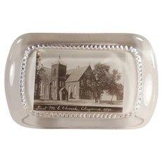 Vintage Glass Advertising Paperweight - First Methodist Church Cheyenne, Wyoming