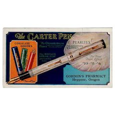 Vintage Advertising Ink Blotter - Carter Pearltex Fountain Pen