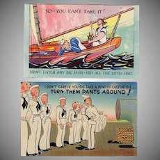 Two Vintage Postcards - Humoruos Military Scenes - Colorful and Never Used