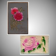 Two Vintage Floral Postcards - Embossed Designs - Germany
