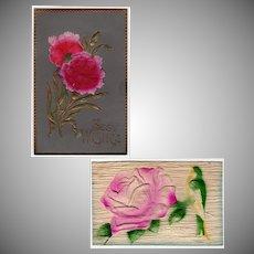 Two Vintage Floral Postcards - Embossed Designs - Germany