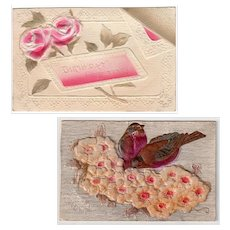 Two Vintage Birthday Postcards - Embossed Floral Greetings