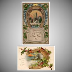Two Vintage Postcards - New Years Greetings with Horseshoe Designs