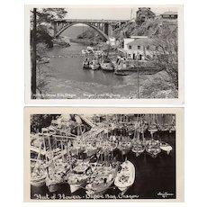 Two Vintage Souvenir Postcards - Photographs of Depoe Bay, Oregon