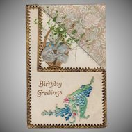 Vintage Birthday Postcard - Embossed Design with Dried Flowers