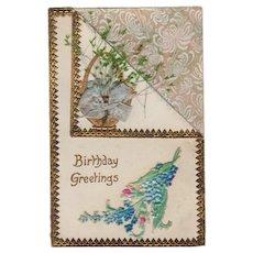 Vintage Birthday Postcard - Embossed Design with Dried Flowers