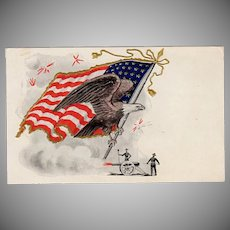 Vintage 4th of July Postcard - Patriotic United States Flag and Eagle