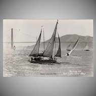 Vintage Photograph Souvenir Postcard - Sail Boats on San Francisco Bay