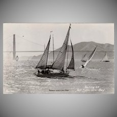 Vintage Photograph Souvenir Postcard - Sail Boats on San Francisco Bay