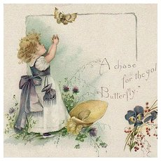 Vintage Advertising Trade Card - Garland Stove with a Little Girl and Butterfly
