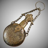 Vintage Chatelaine Perfume Bottle - Embossed Brass Chatelaine Accessory