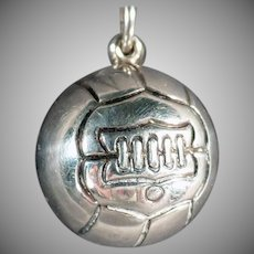 Vintage Sports Charm - Sterling Silver Soccer Ball, Early Ball Design