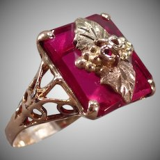Ladies Vintage Ring - 10k Black Hills Gold and Synthetic Ruby with Pretty Mounting
