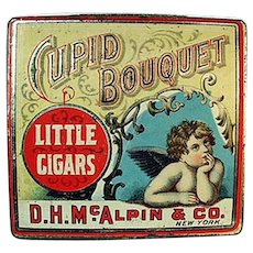 Vintage Cupid Bouquet Little Cigars Tobacco Tin - Nice Cherub Graphics