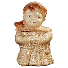 Vintage Brush Pottery Cookie Jar - Davy Crockett Child - 1956