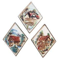 Vintage Porcelain Plaques with Quaint Scenes - Set of Three by Lefton