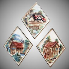 Vintage Porcelain Plaques with Quaint Scenes - Set of Three by Lefton