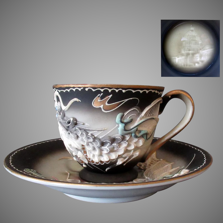 Vintage Gray Dragonware Moriage Cup and Saucer with U S  Capitol Lithophane