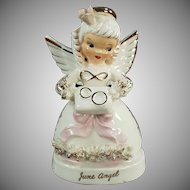 Vintage Napco Porcelain Angel - June Angel with Wedding Rings