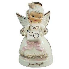 Vintage Napco Porcelain Angel - June Angel with Wedding Rings