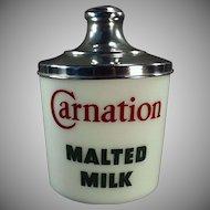 Vintage Malt Canister - Carnation Milk Glass Jar with Aluminum Lid