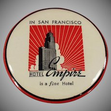 Vintage Celluloid Advertising Clothes Brush - San Francisco Hotel Empire