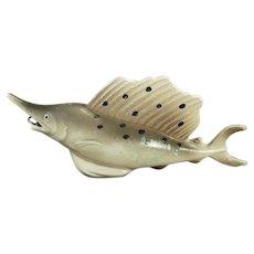Vintage Celluloid Fish Tape Measure - Figural Sailfish Figure