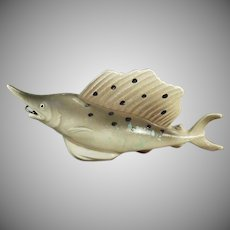 Vintage Celluloid Fish Tape Measure - Figural Sailfish Figure