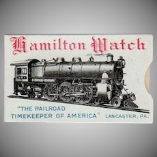 Vintage Celluloid Advertising with Train Graphics - Hamilton Watch Company