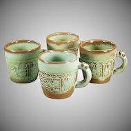 Vintage Frankoma Pottery - 4 Mayan-Aztec Coffee Cups - Prairie Green Glaze
