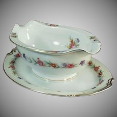 Vintage O.J. Sango China - Gravy Boat with Attached Drip Tray