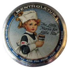 Vintage Mentholatum Ointment Medicine Tin - Colorful with Little Girl Nurse