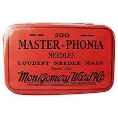 Vintage Phonograph Needle Tin from Montgomery Ward Master-Phonia