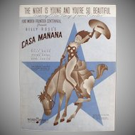 Vintage Sheet Music - 1936 The Night is Young & You're So Beautiful with Cowgirl